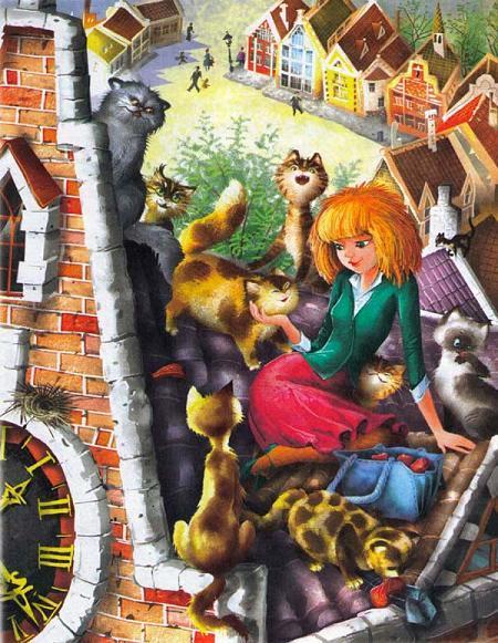Мурли и коты на крыше дома