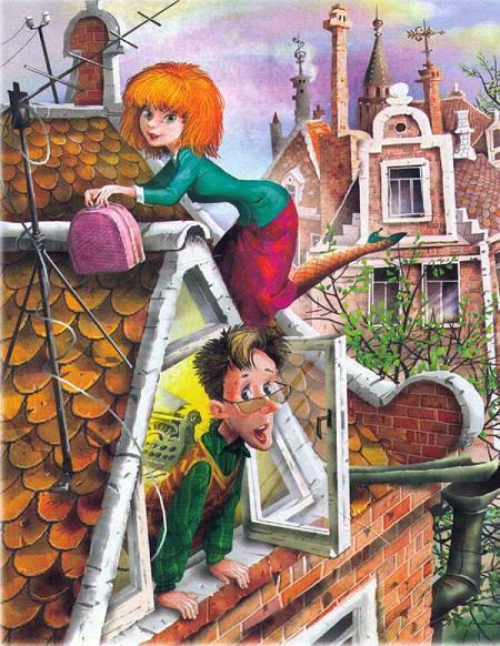 Мурли лезет на крышу дома