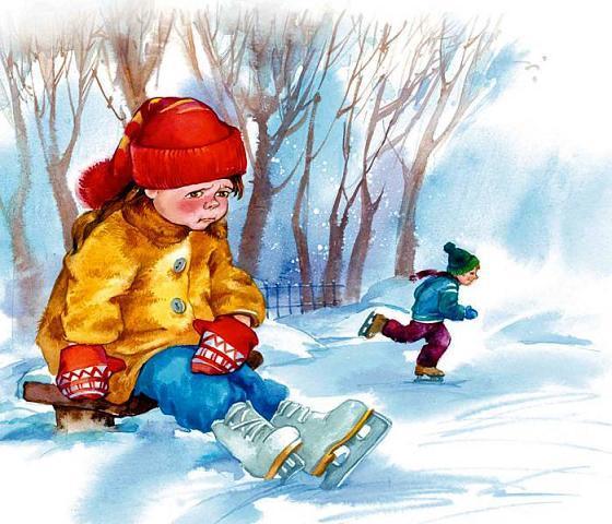 маленький мальчик в коньках в сугроб сел