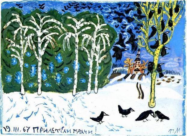 грачи нследили на снегу