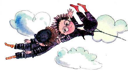 Знайка в небе летит ухватил Винтика