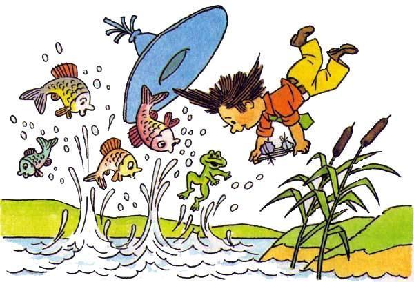 Незнайка падает в воду рыбы летают