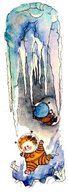 Незнайка и Пончик падают в ледяной туннель
