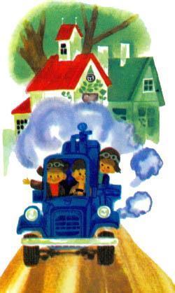 Винтик Шпунтик и Бублик на автомобиле едут по городу