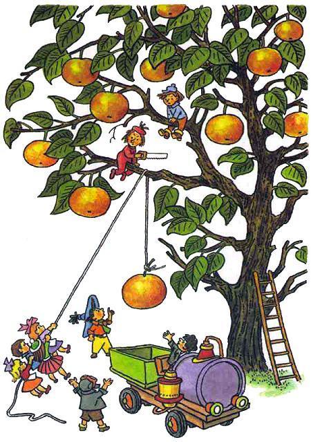 Незнайка и коротыши спускают яблоко на веревке