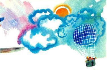 воздушный шар в небе в облаках парит