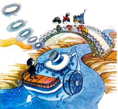 НЕЗНАЙКА, КНОПОЧКА И ПАЧКУЛЯ ПЕСТРЕНЬКИЙ стоя на мосту увидели пароход