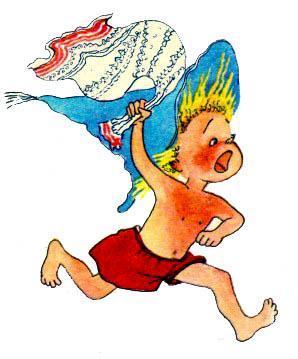 Незнайка бежит с полотенцем