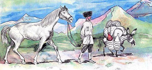 Осёл и лошадь