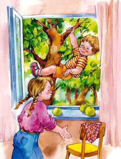 девочка у окна мальчик лезет по дереву