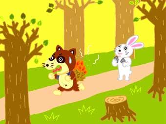 Отважный заяц и енот