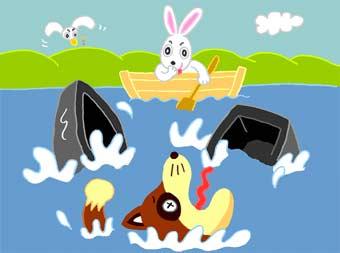 """Спасите! Помогите!"" - закричал Енот. Но заяц и не думал спасать"