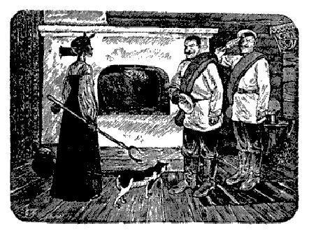 хозяйка и два солдата у печи