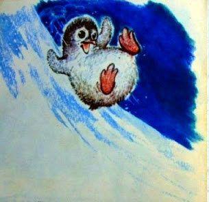 Пингвинёнок съехал с горы