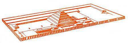 Рисунок-реконструкция священного пространства вокруг Ступенчатой пирамиды Джосера