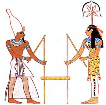 Фараон со жрицей богини Сешат