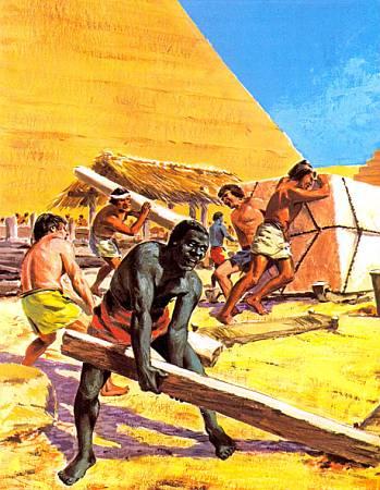 Рабам и пленным приходилось выполнять при строительстве пирамид самую тяжелую работу