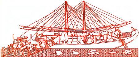 Египетское торговое судно с товарами. Рельеф на стене Фиванского храма.
