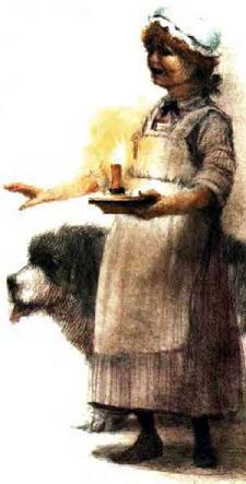 дама со свечей и собакой