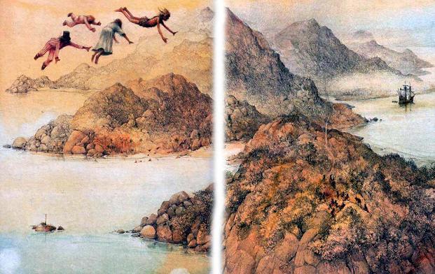 Питер Пэн и Венди и дети летят по небу над землей над морем