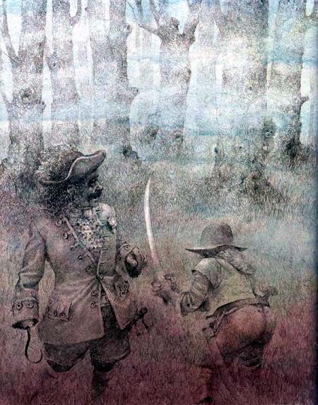 капитан Крюк Пират в тумане в лесу