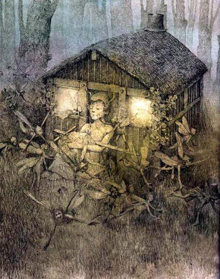 Питер Пэн и домик в лесу во тьме