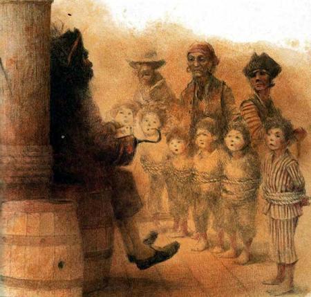 капитан Крюк Пират и связанные дети