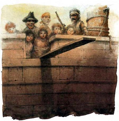 пираты сбрасывают детей с борта по доске