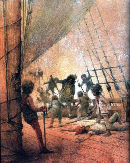 Питер Пэн капитан Крюк Пират бой на палубе корабля