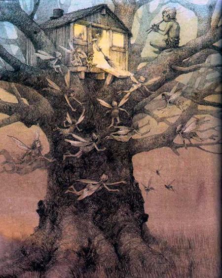 Питер Пэн играет на дудочке сидя на ветвях дерева