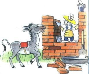 ослик осел стройка заяц кирпичная кладка