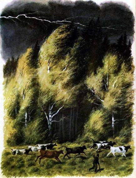 стадо коров испугалось молнии побежали в лес
