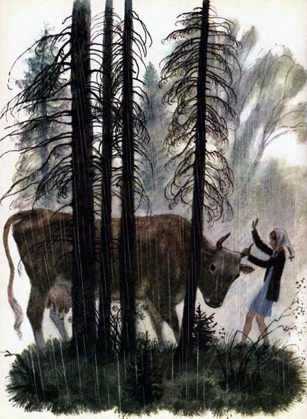 девочка схватила за рога корову