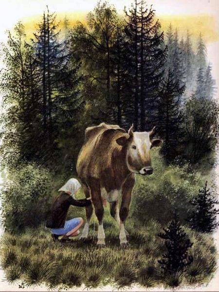 девочка доит корову в лесу