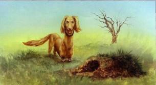 собака охотничья у норы