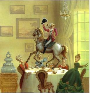 барон Мюнхаузен на лошади вьехал на стол