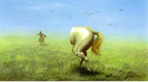 задняя половина лошади на лугу