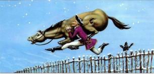 барон Мюнхаузен перепрыгивает через забор с лошадью на плечах