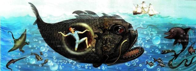 барон Мюнхаузен в животе огромной рыбы