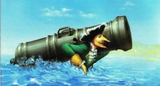 барон Мюнхаузен несет пушку на плечах в воде