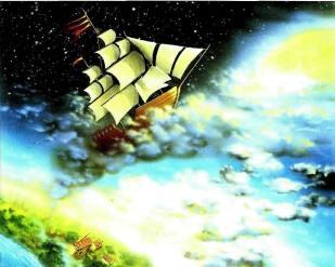 корабль барона Мюнхаузена плывет к луне