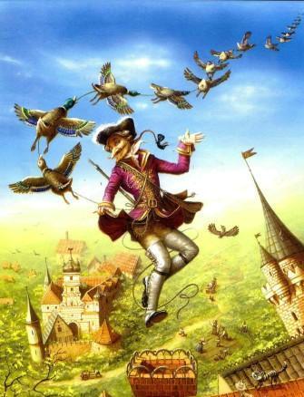 барон Мюнхаузен и нанизанные утки