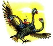 житель луны на трехглавой птице