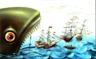 морское чудовище выплевывает флот