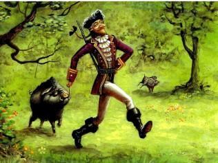 дикая свинья на привязи у барона Мюнхаузена