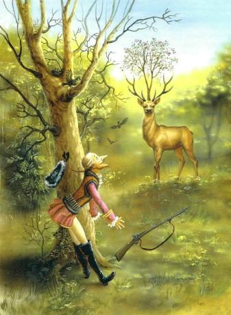 барон Мюнхаузен и олень с вишневым деревом на голове