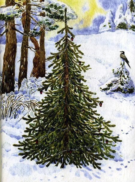елочка в лесу заснеженом
