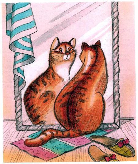 кот у зеркала