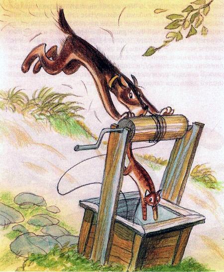 кот убегая от пса прыгнул в колодец