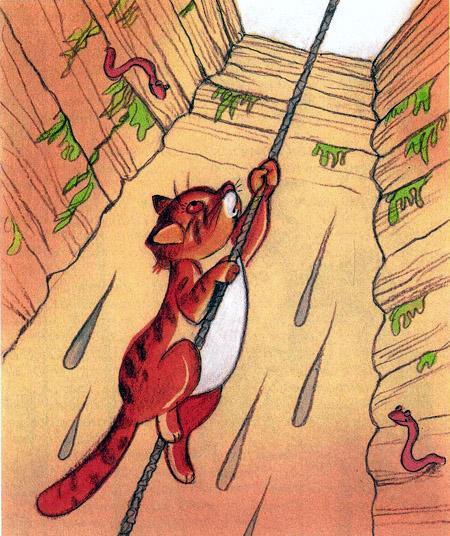 кот лезет из колодца по веревке